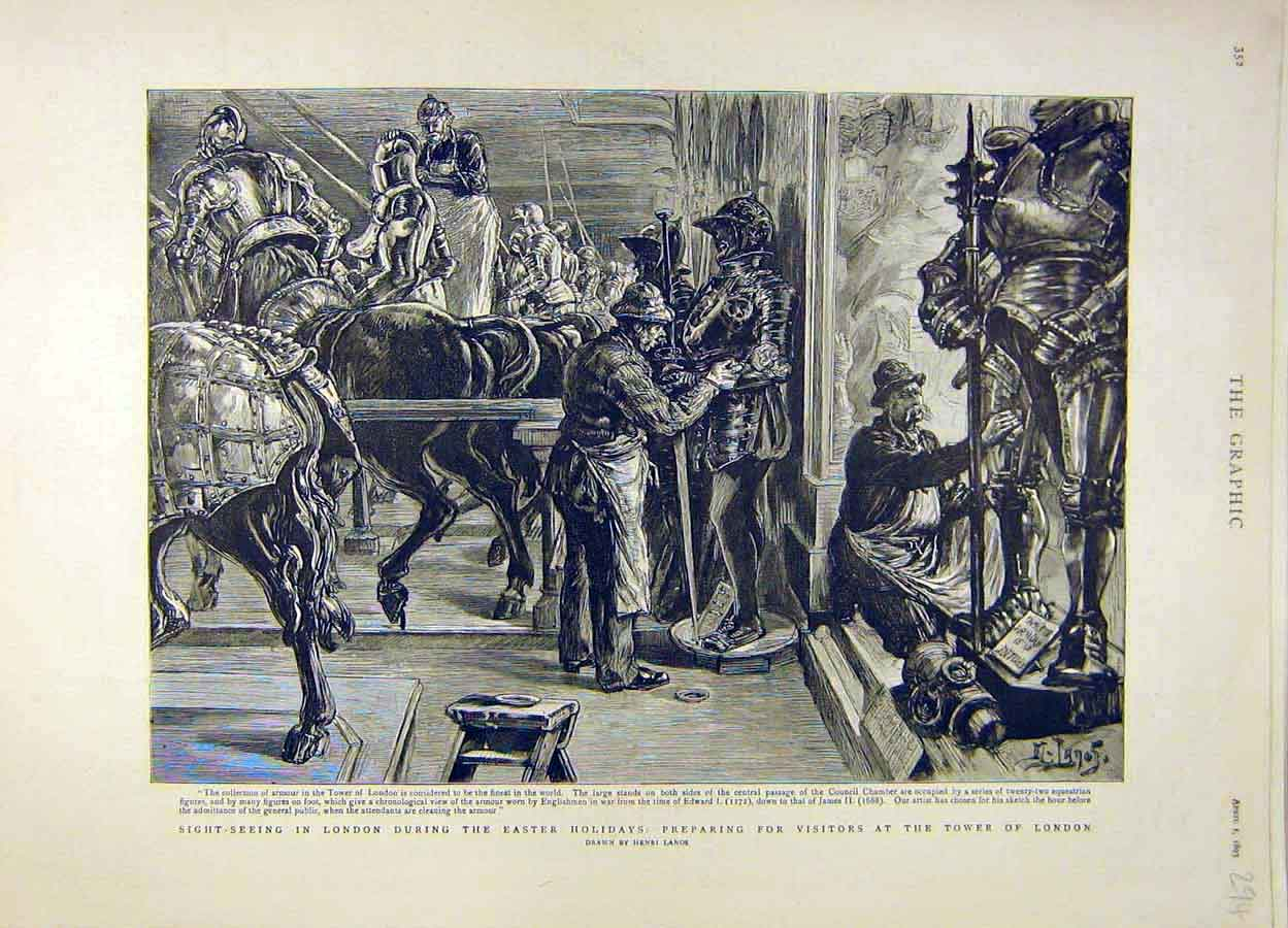 Print 1893 London Tower Lanos Armour Knights Museum 948051 Old Original