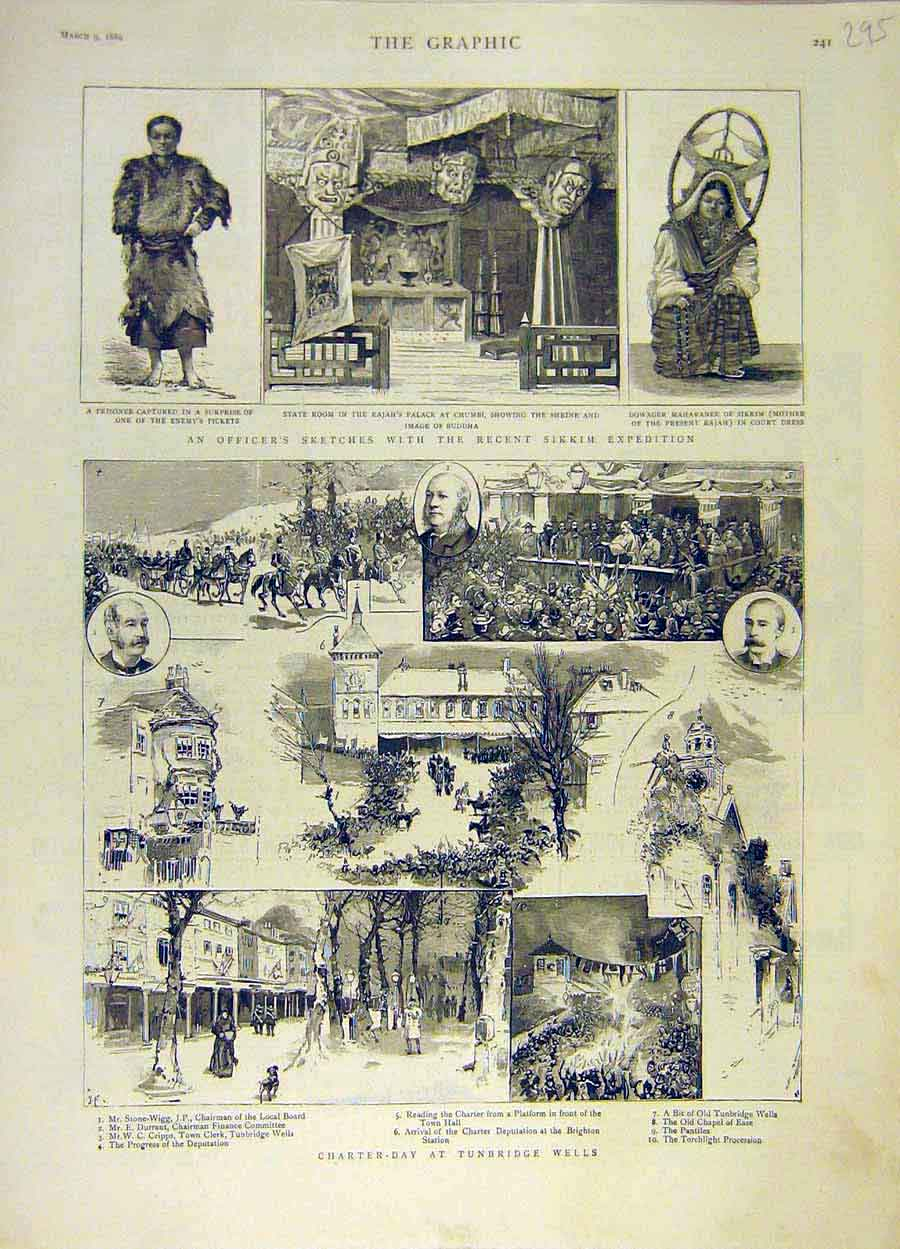 Print 1889 Sikkim Expedition Sketches Tunbridge Wells Charter 958051 Old Original