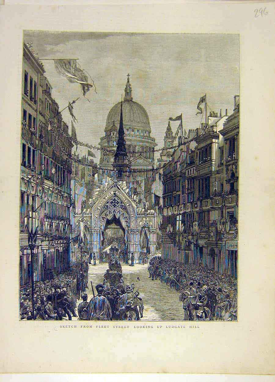 Print Sketch Fleet-Street Ludgate Hill London Places People 968051 Old Original