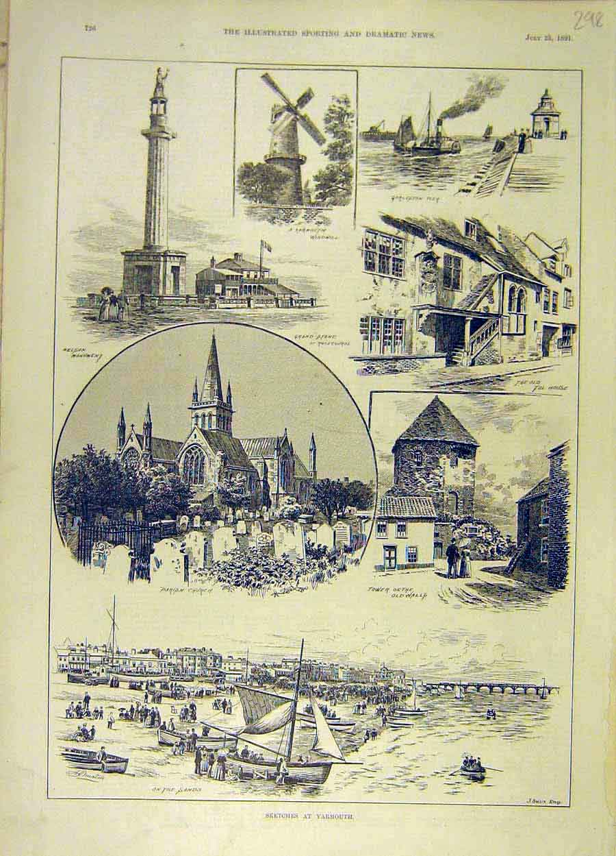 Print 1891 Sketches Yarmouth Parish-Church Windmill 988051 Old Original
