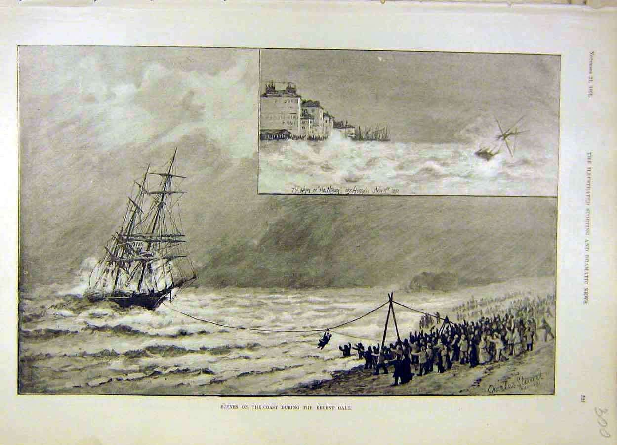 Print 1891 Wreck Nerissa Coast Sea Gale Storm 008051 Old Original