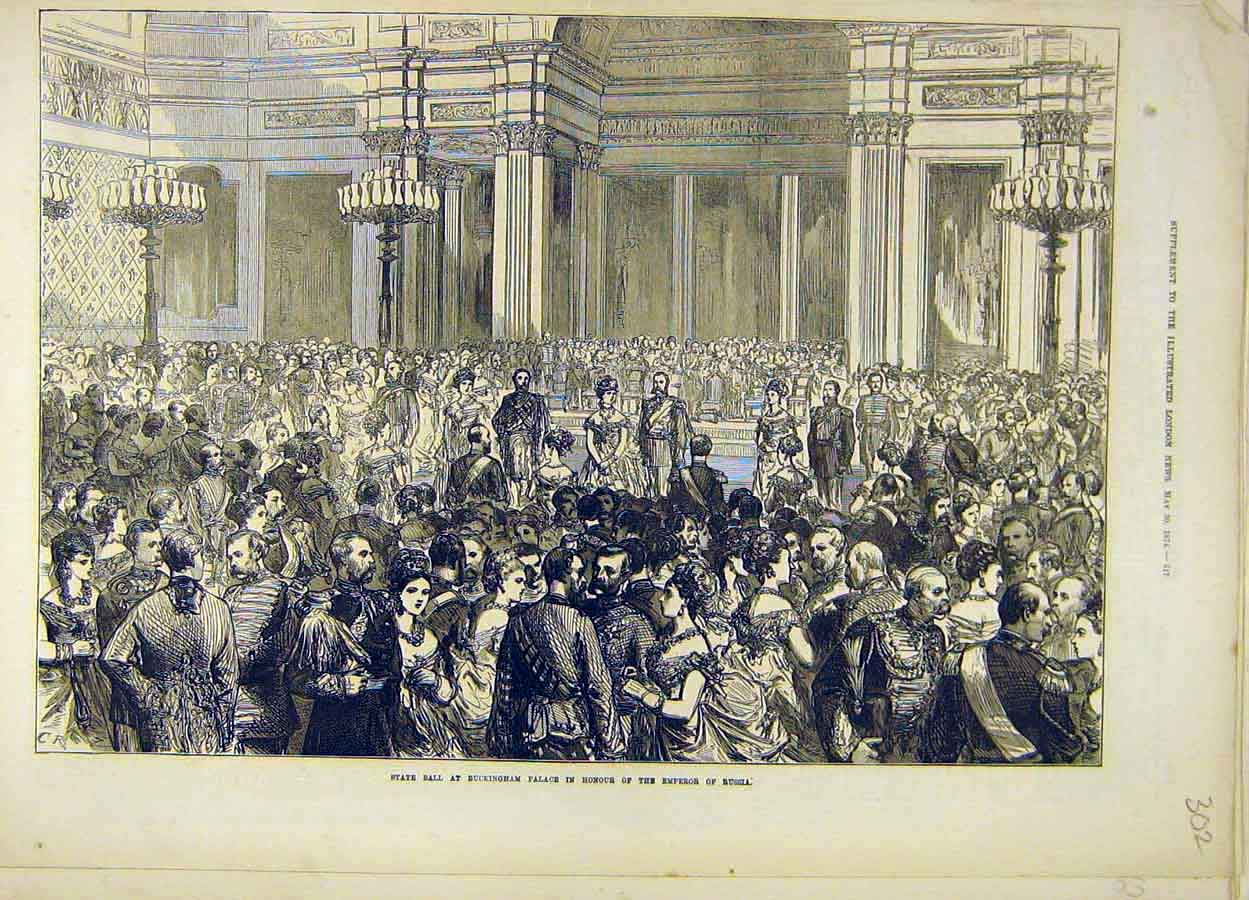 Print 1874 State Ball Buckingham Palace Emperor Russia 028051 Old Original