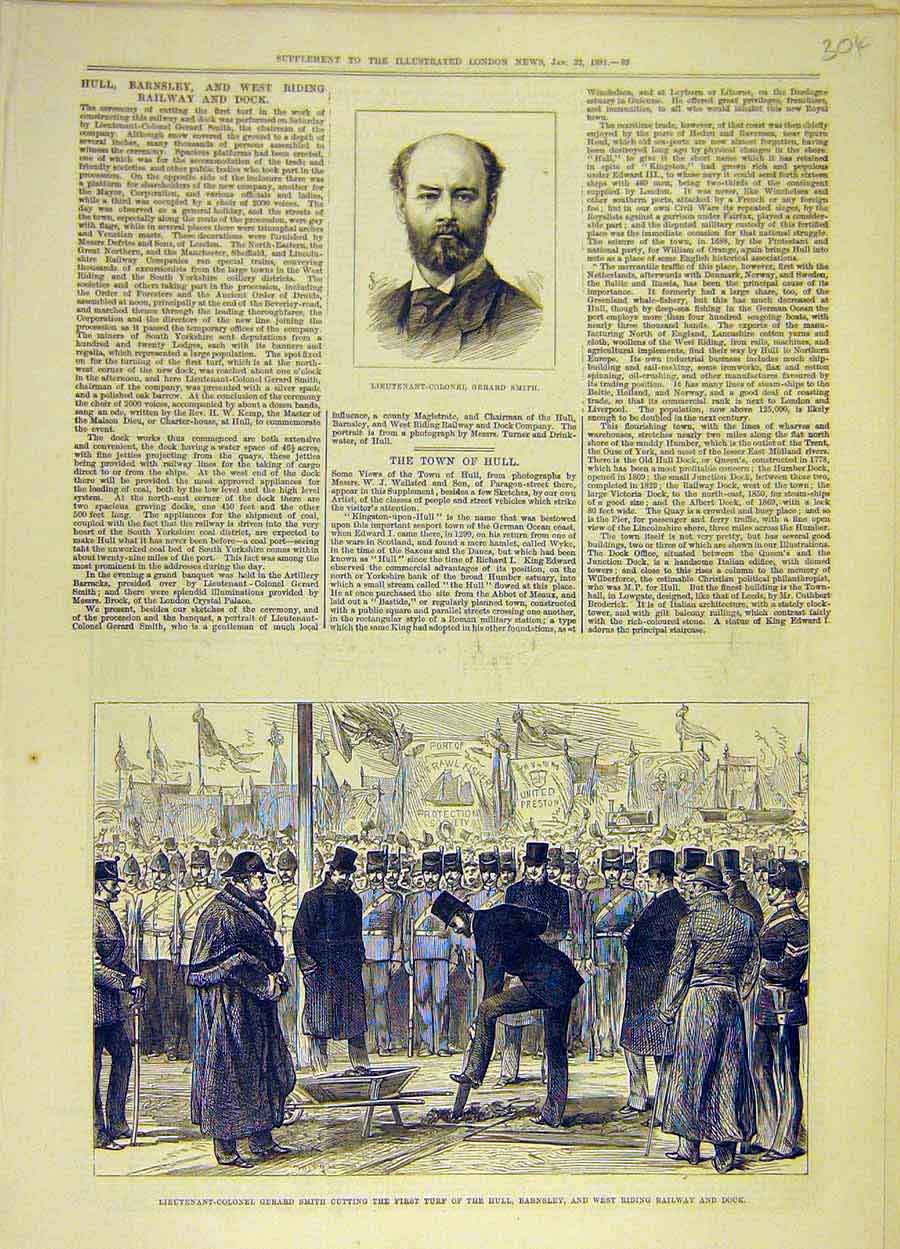 Print 1881 Portrait Smith Barnsley West-Riding Railway Dock 048051 Old Original