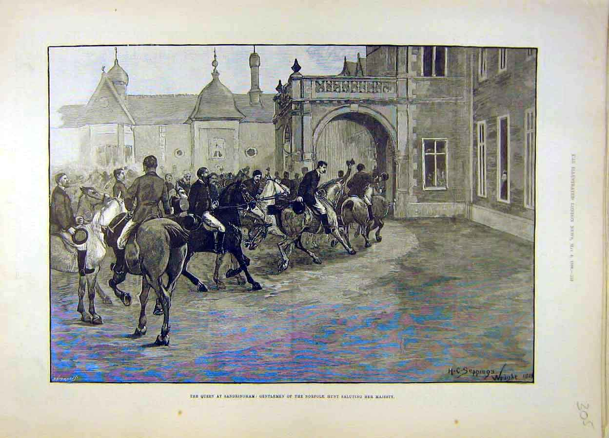 Print 1889 Queen Sandringham Norfolk Hunt 058051 Old Original
