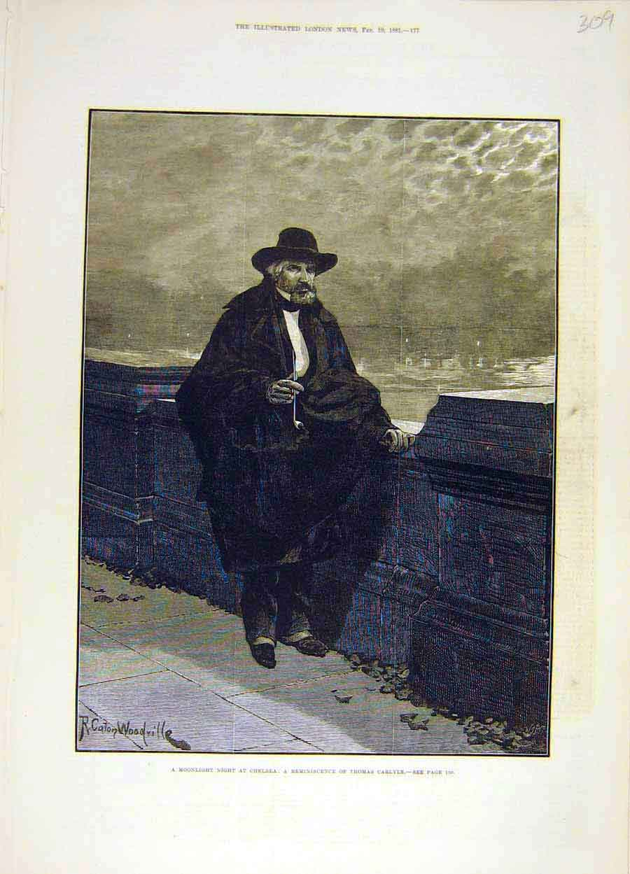 Print 1881 Moonlight-Night Chelsea Thomas-Carlyle 098051 Old Original