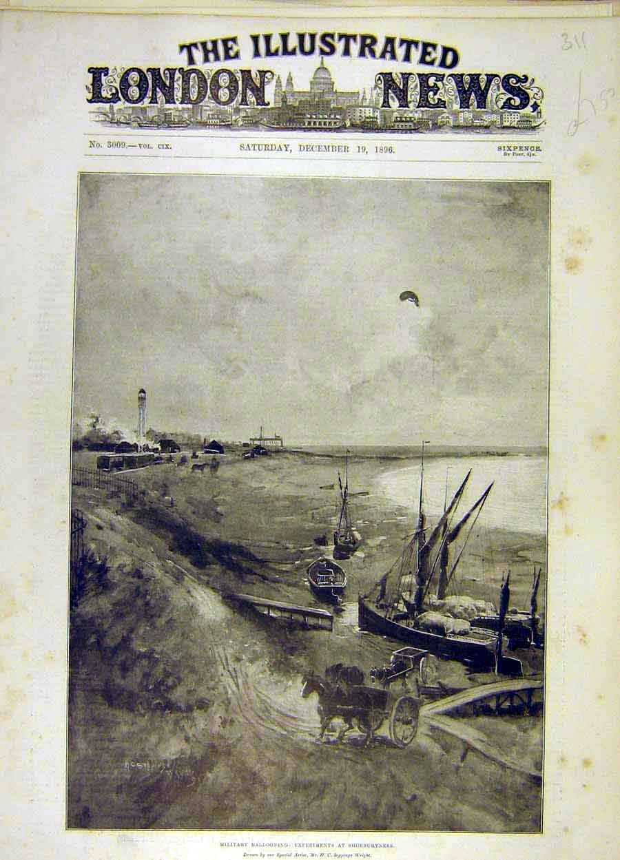 Print 1896 Military Ballooning Shoeburyness Seppings-Wright 118051 Old Original