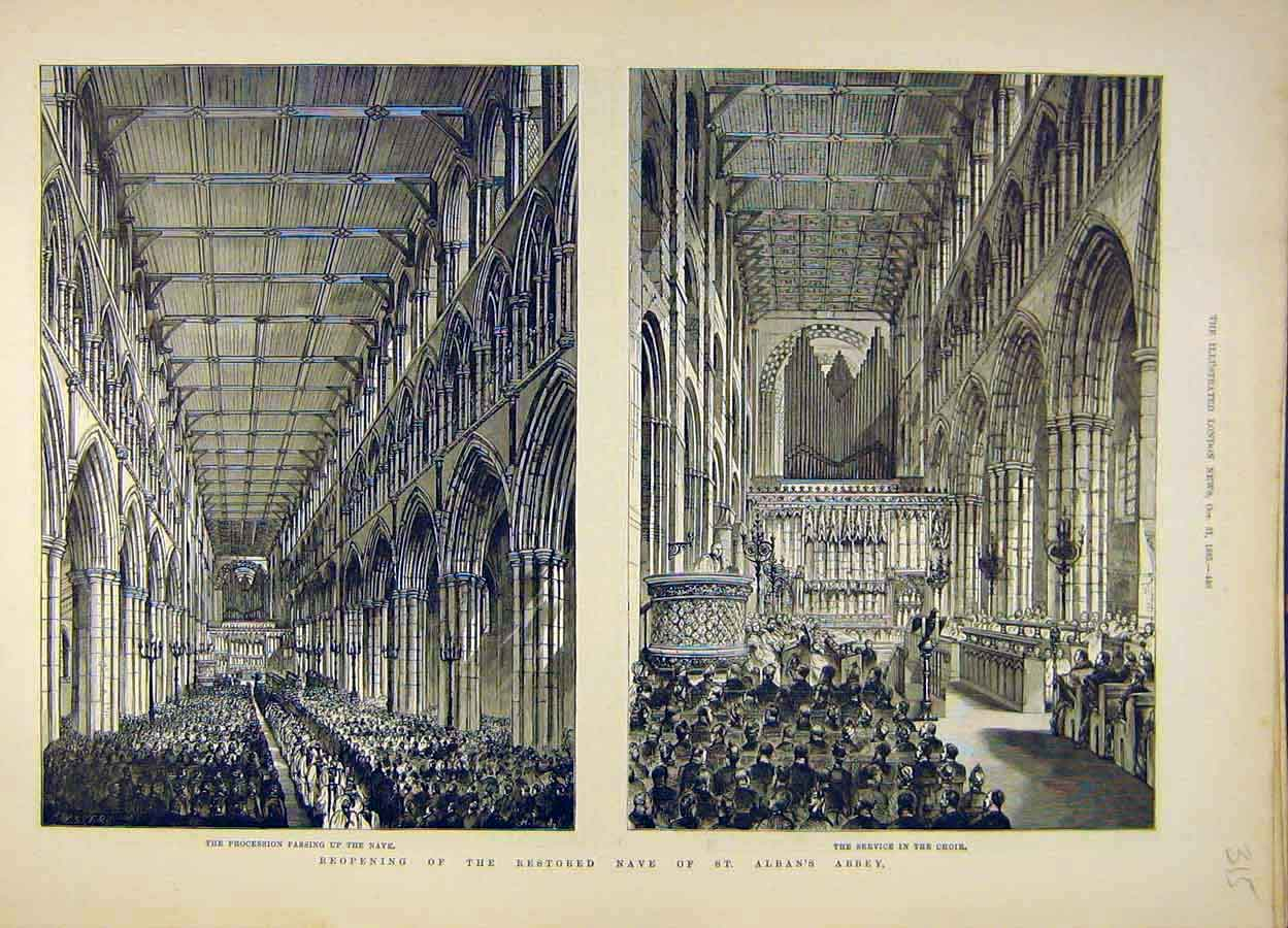 Print 1885 Nave St Alban'S Abbey Building Choir 158051 Old Original