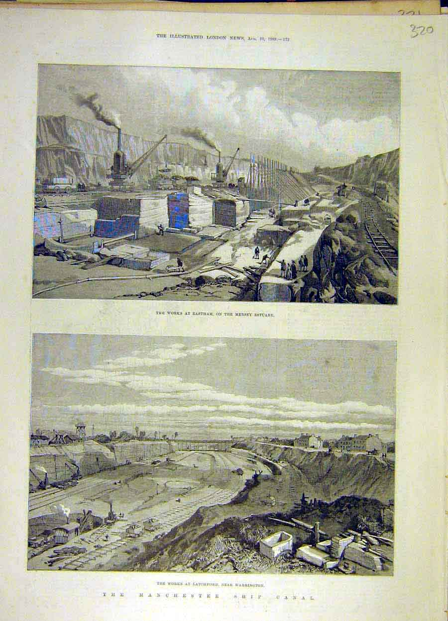 Print 1889 Eastham Mersey Latchford Manchester Ship Canal 208051 Old Original