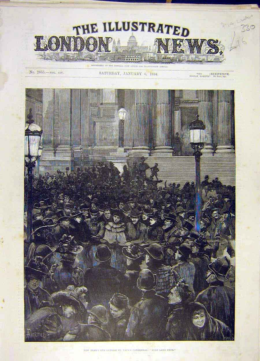 Print 1894 St Paul'S Cathedral New-Year'S Eve Auld-Land-Syne 308051 Old Original