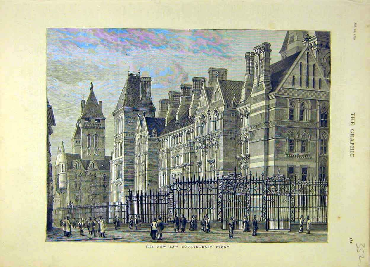 Print 1879 Law Courts Building East-Front Architecture 528051 Old Original