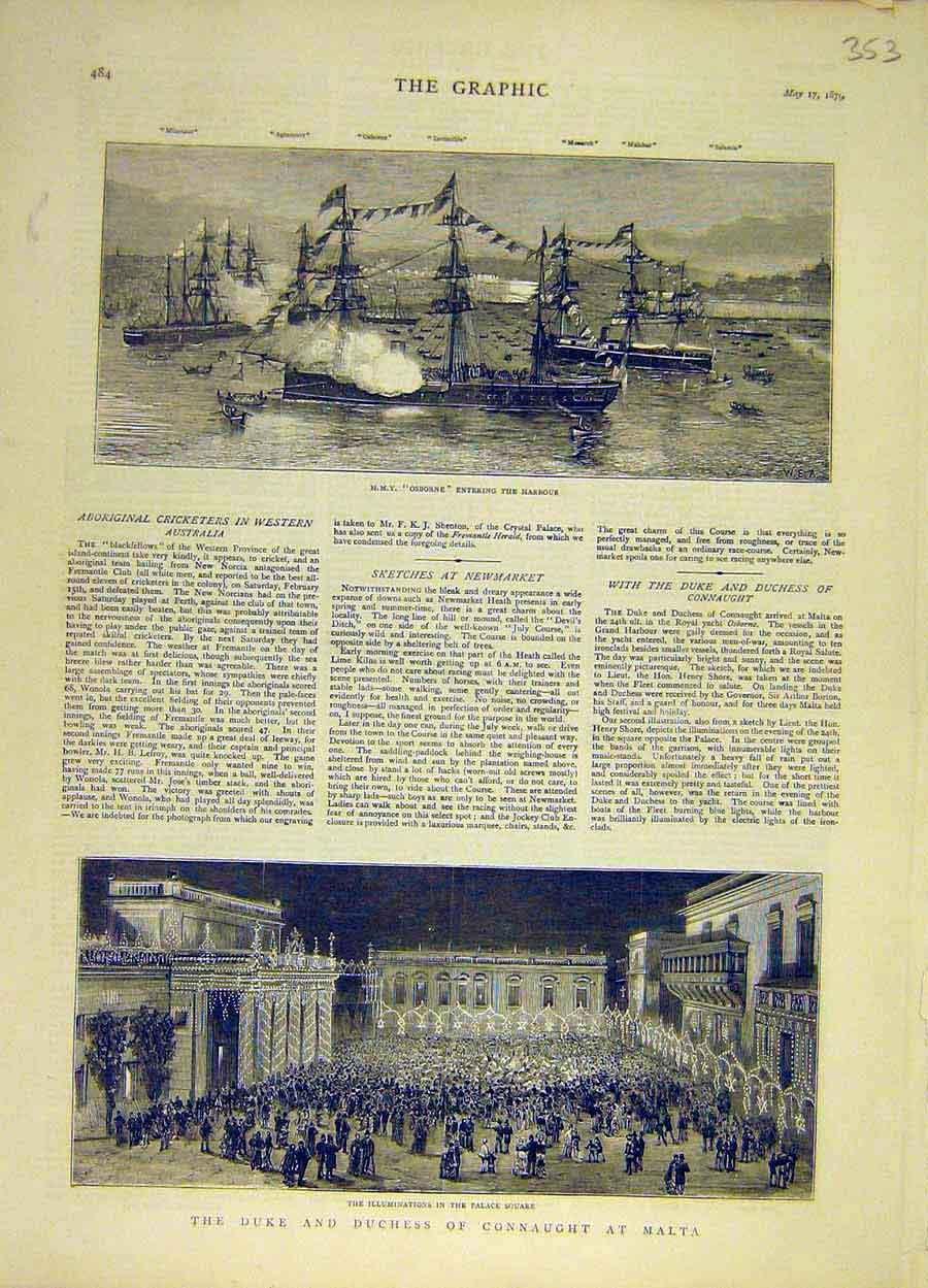 Print 1879 Hmy Osborne Harbour Duke Connaught Malta Palace 538051 Old Original