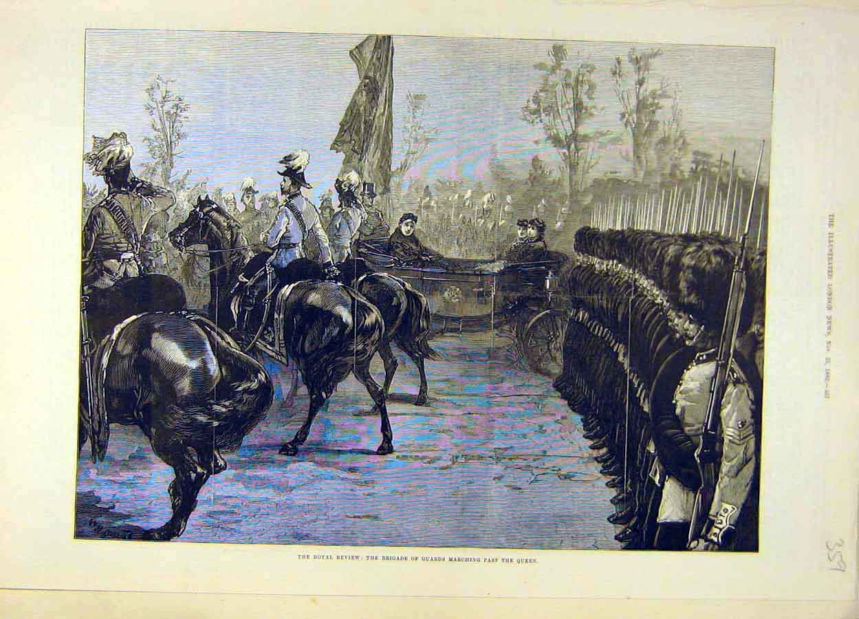 Print 1882 Royal Review Brigade Guards Queen 598051 Old Original