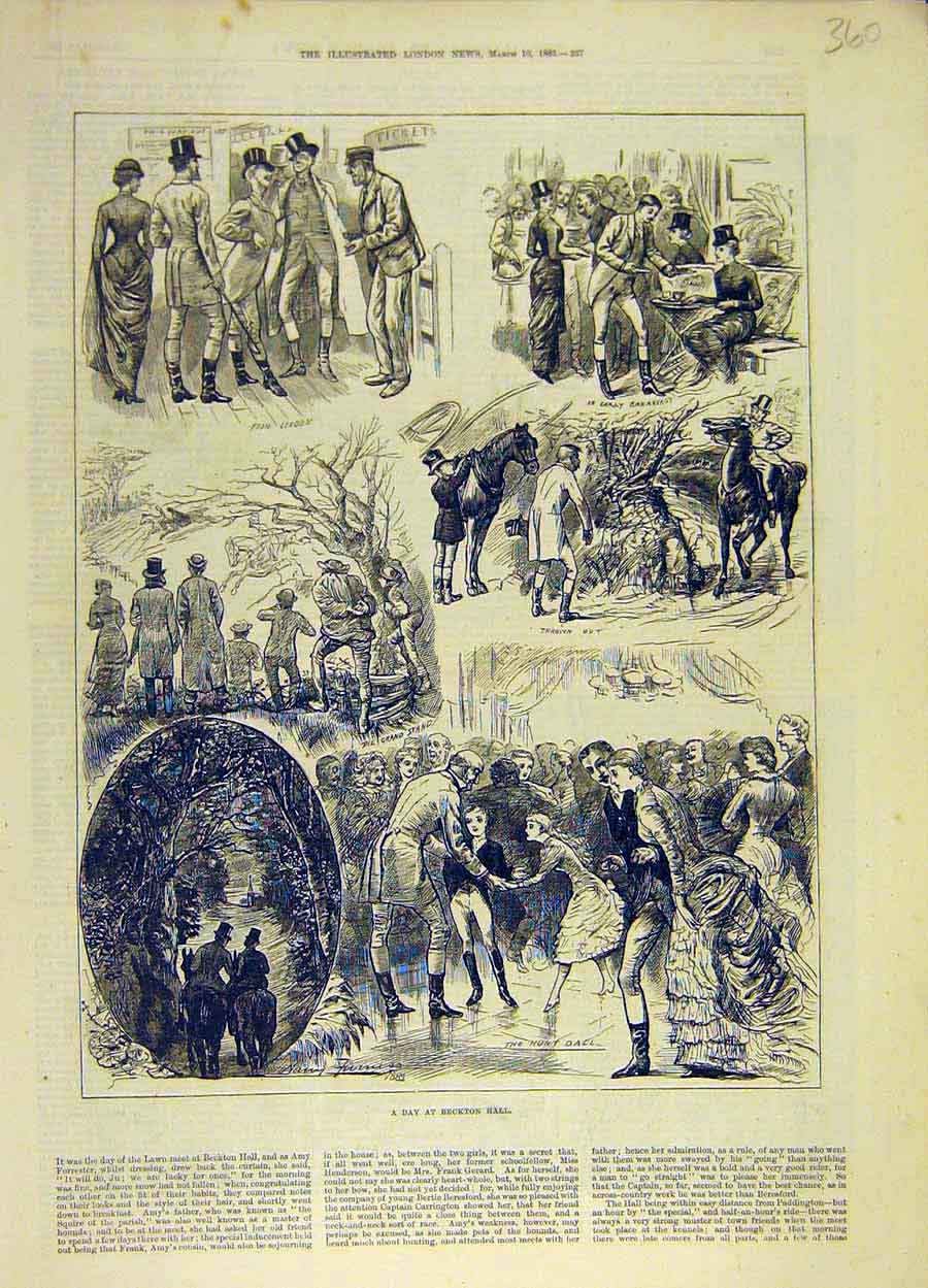 Print 1883 Becton Hall Amy-Forrester Story Sketch 608051 Old Original