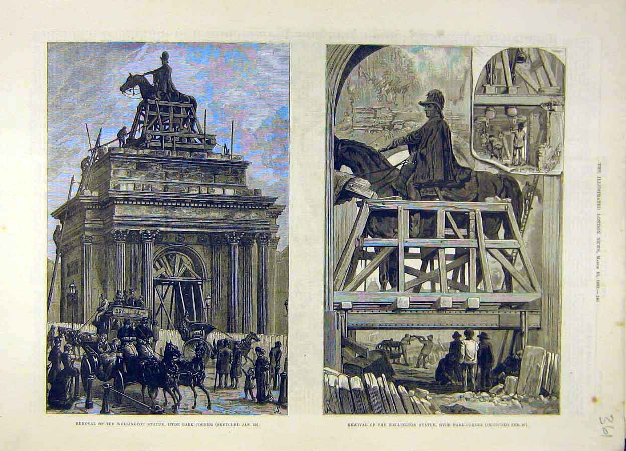 Print 1883 Wellington Statue Removal Hyde-Park Corner London 618051 Old Original