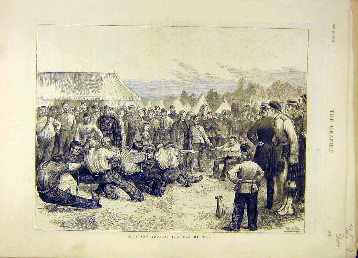 Print 1875 Military Sports Tug-Of-War 648051 Old Original