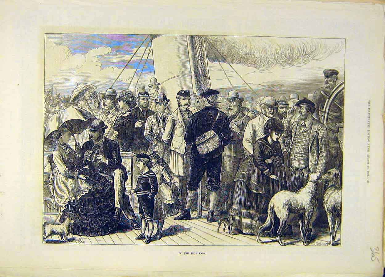 Print 1871 Highlands People Scotland Social History 658051 Old Original