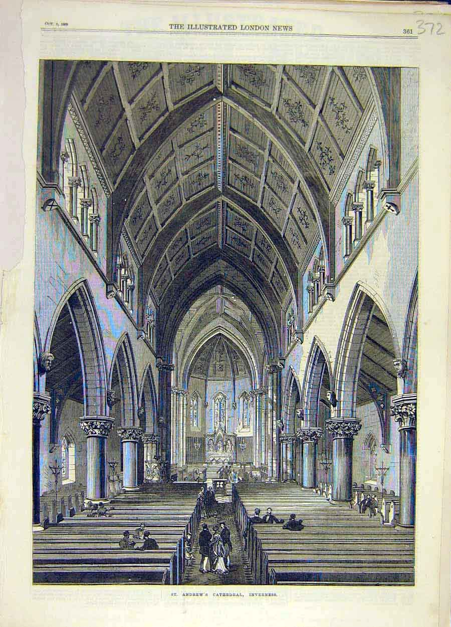 Print 1869 St. Andrew'S Cathedral Inverness Scotland 728051 Old Original