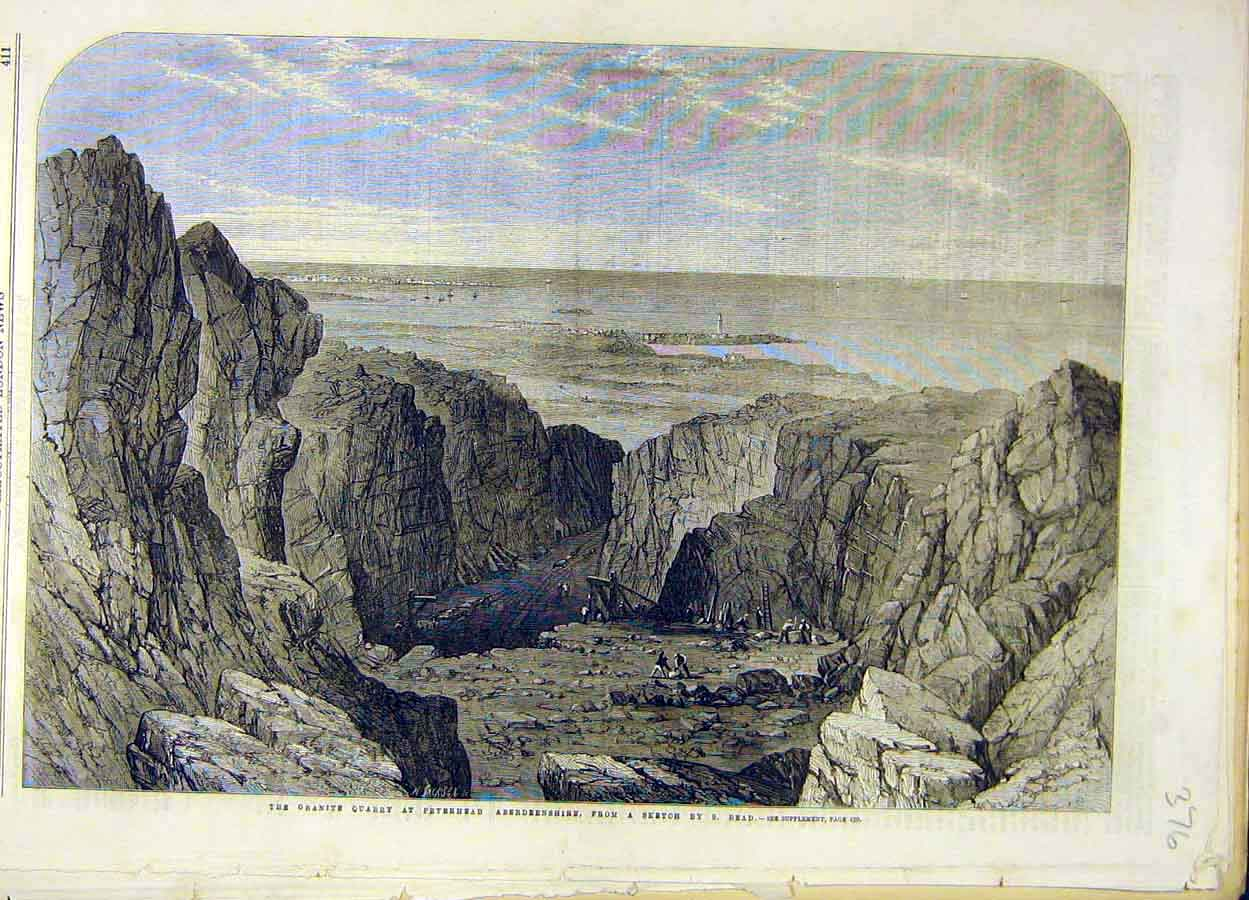 Print 1862 Granite Quarry Peterhead Aberdeenshire Read 768051 Old Original