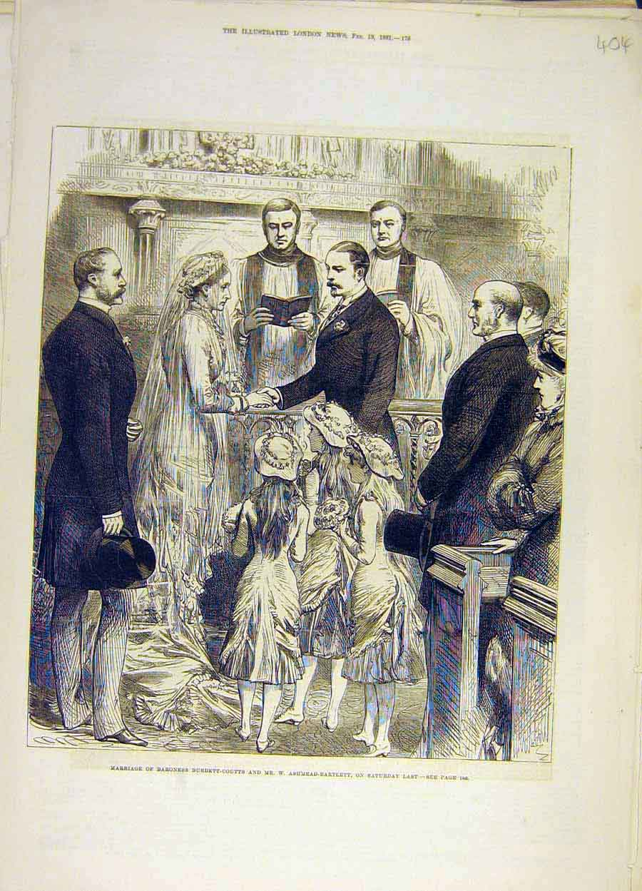 Print 1881 Marriage Burdett-Coutts Ashmead-Bartlett 048051 Old Original