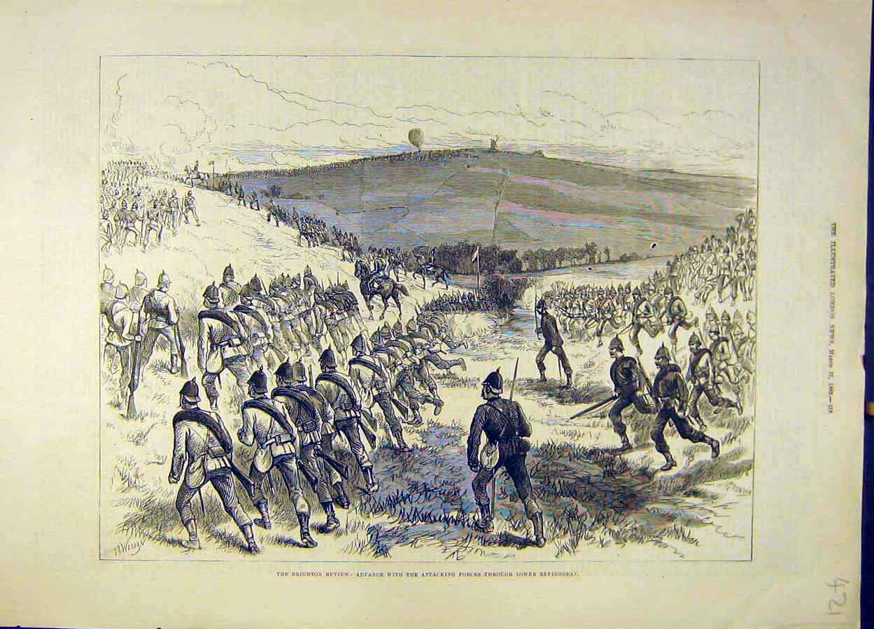 Print 1883 Brighton Review Bevingdean Forces Attack Troops 218051 Old Original