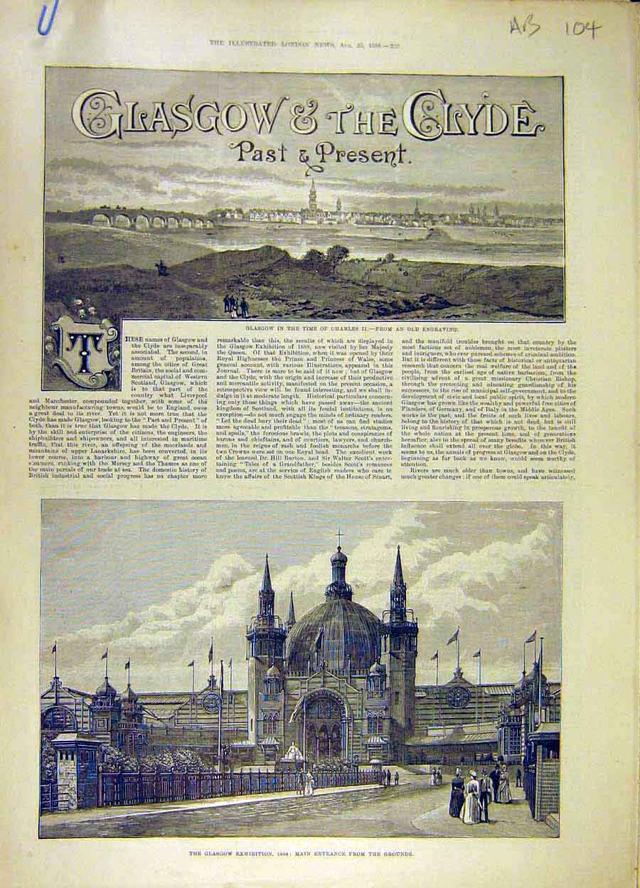 Print 1888 Glasgow Clyde Exhibition Sculpture Scotland 04A8061 Old Original