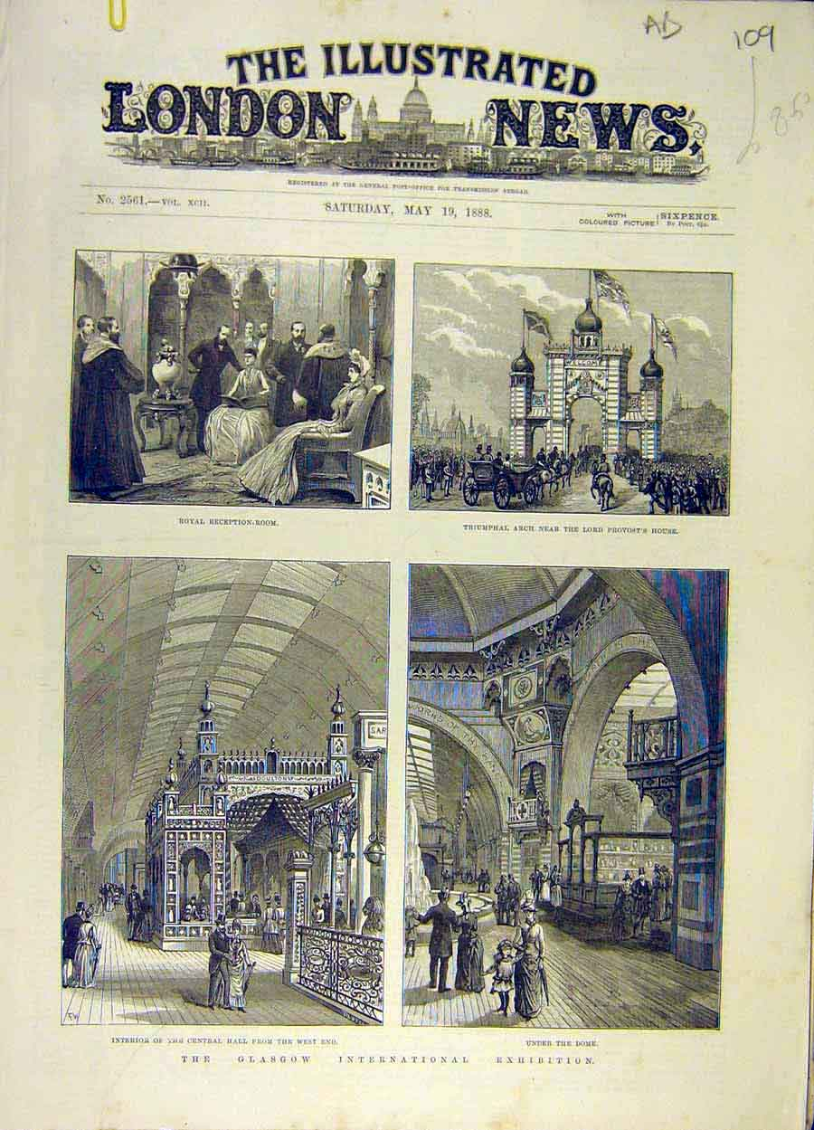 Print 1888 Glasgow Exhibition Building Hall Pencil-Making 09A8061 Old Original