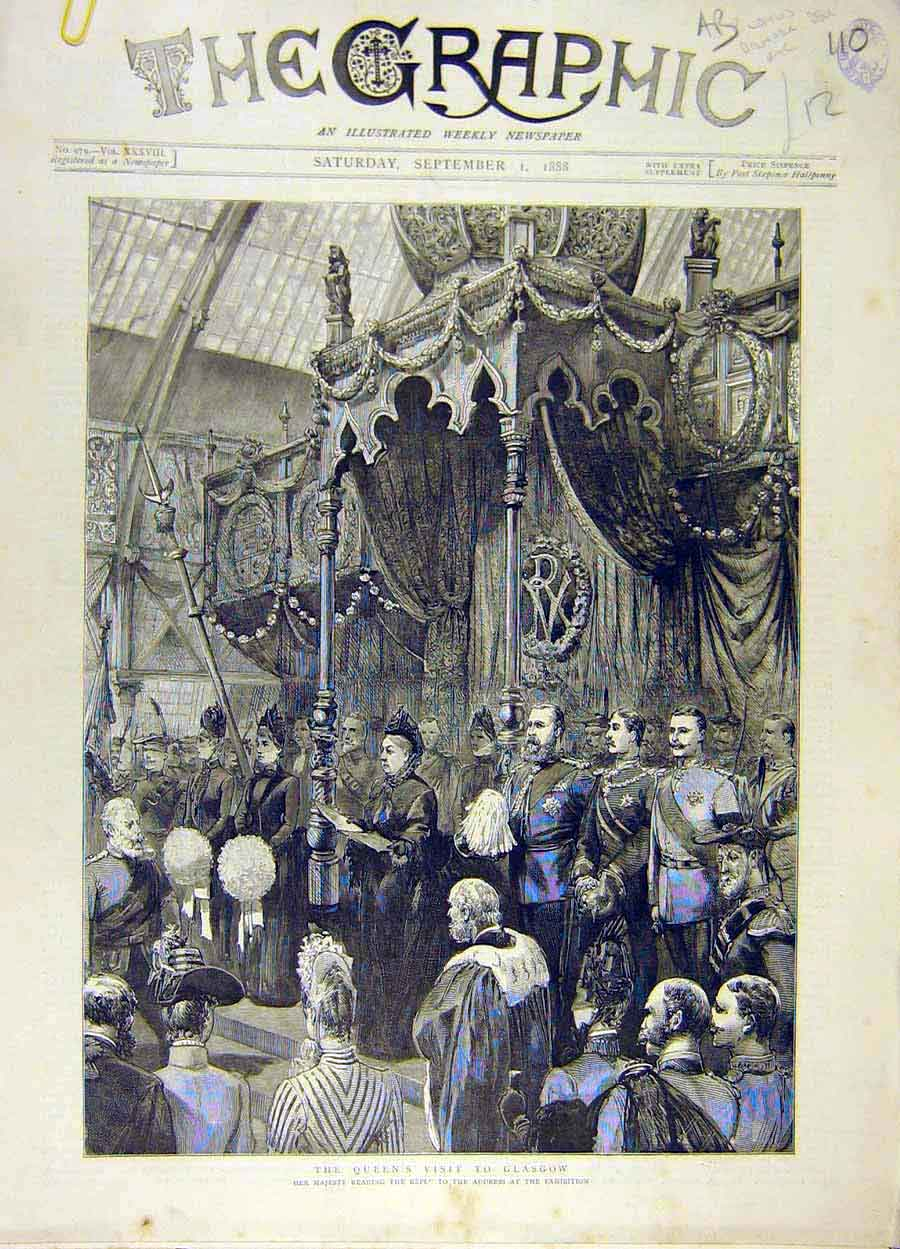 Print 1888 Queen Visit Glasgow Paisley Enoch Station 10A8061 Old Original