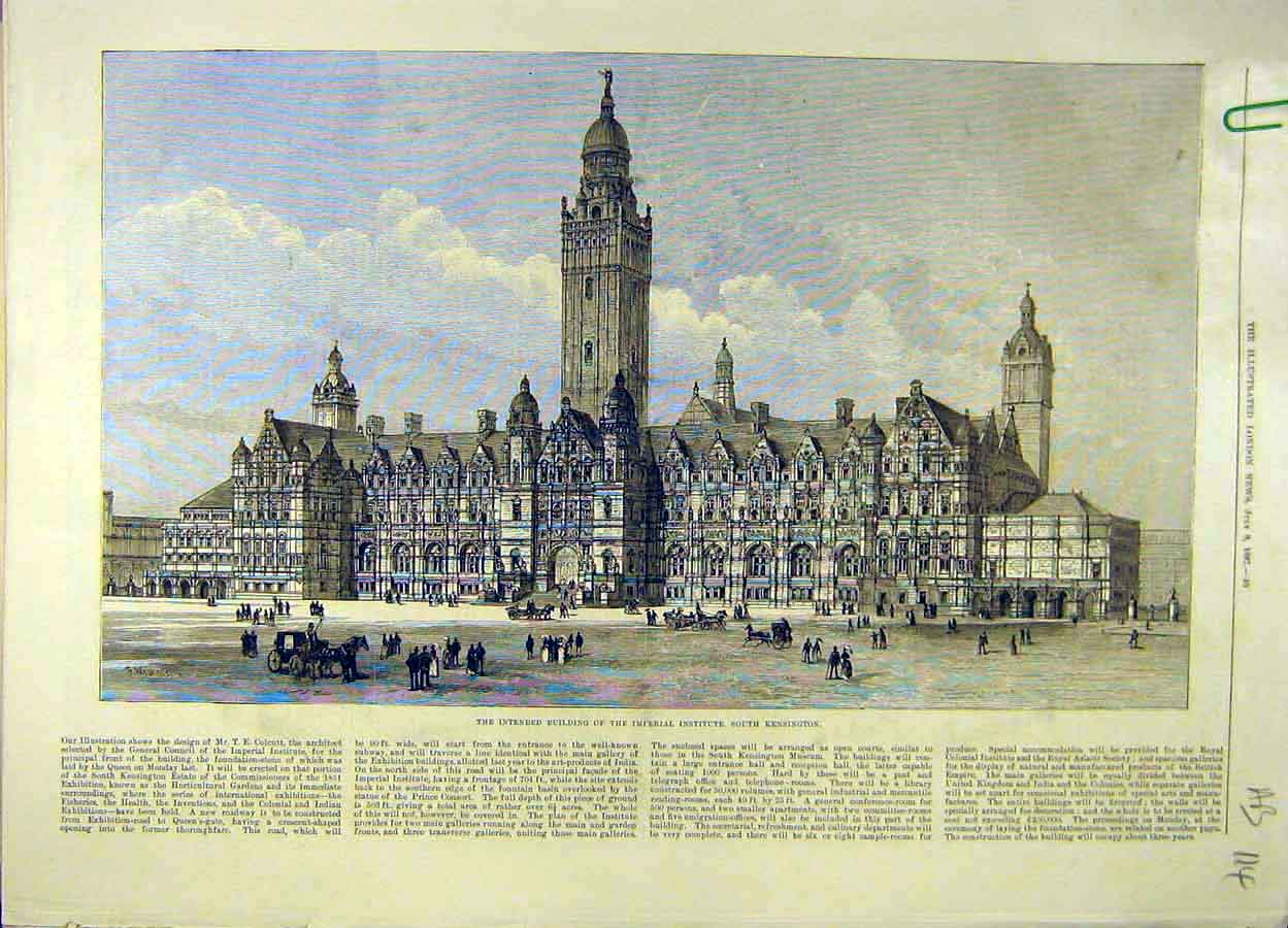 Print 1887 Building Imperial Institute Kensington Queen 14A8061 Old Original