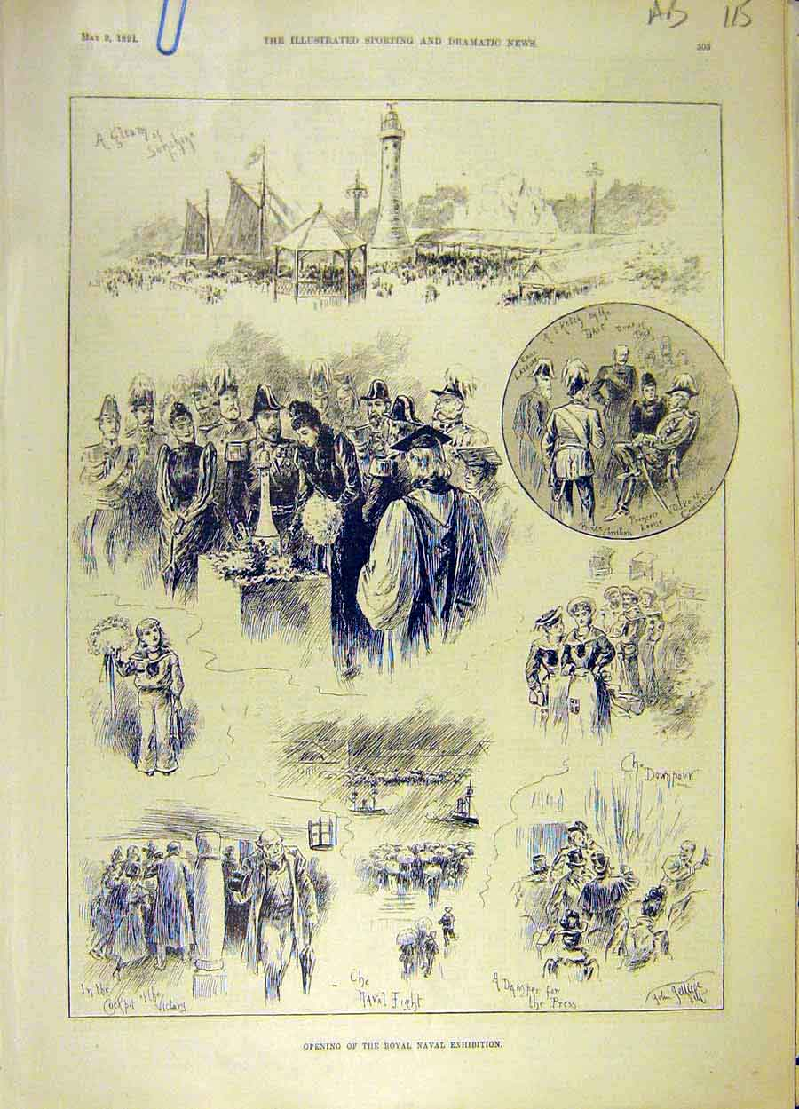 Print 1891 Royal Naval Exhibition Sketches Trawler River 15A8061 Old Original