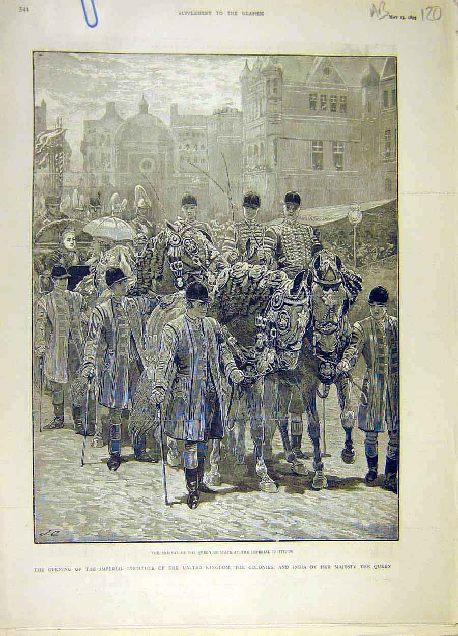 Print 1893 Imperial Institute Queen Procession Victoria 20A8061 Old Original