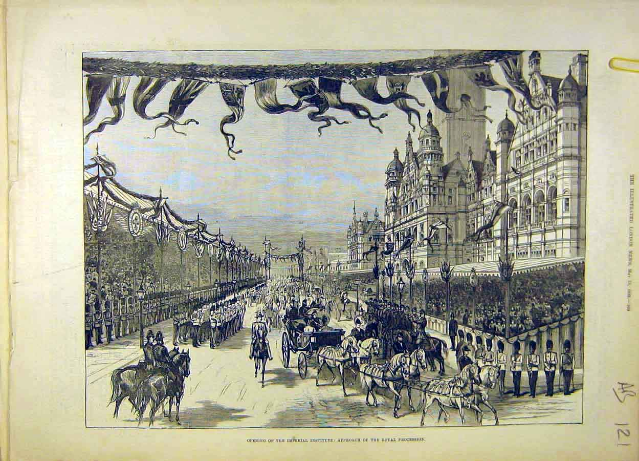 Print 1893 Royal Procession Imperial Institute Queen Escort 21A8061 Old Original