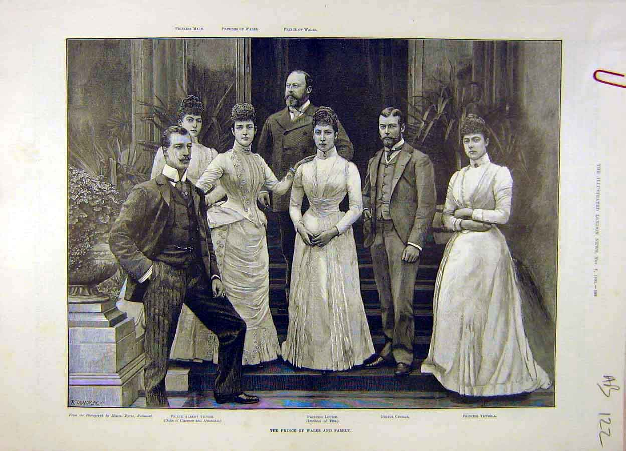 Print 1891 Prince Wales Family-Portrait Royal 22A8061 Old Original