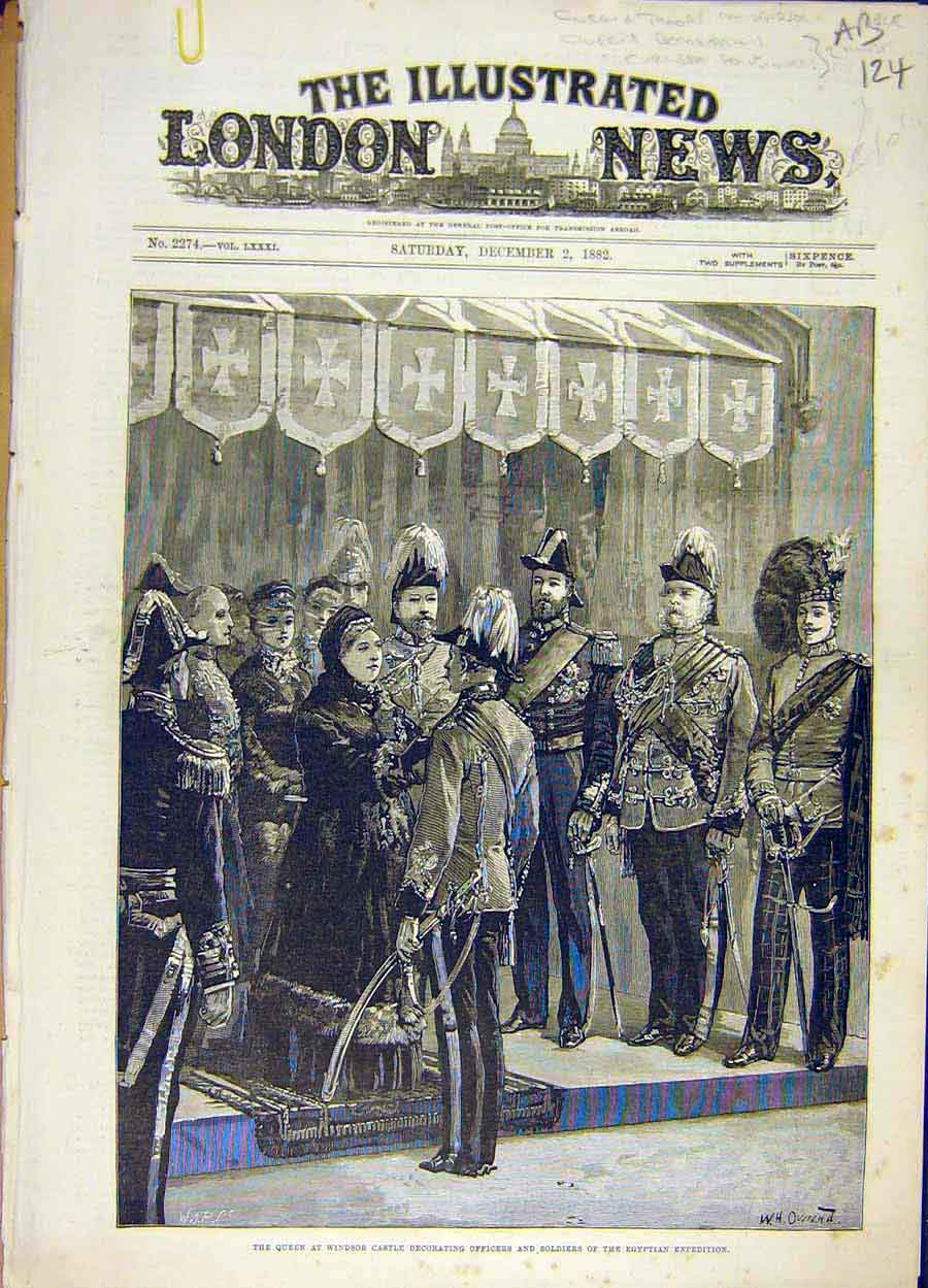 Print 1882 Queen Windsor Castle Officers Egyptian Decoration 24A8061 Old Original