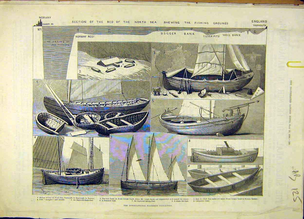 Print 1883 Fisheries Exhibition Fishing-Boat Fete People Fish 25A8061 Old Original