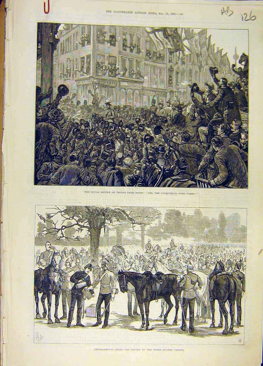 Print 1882 Royal Review Troops Egypt Horse Guards Sketches 26A8061 Old Original