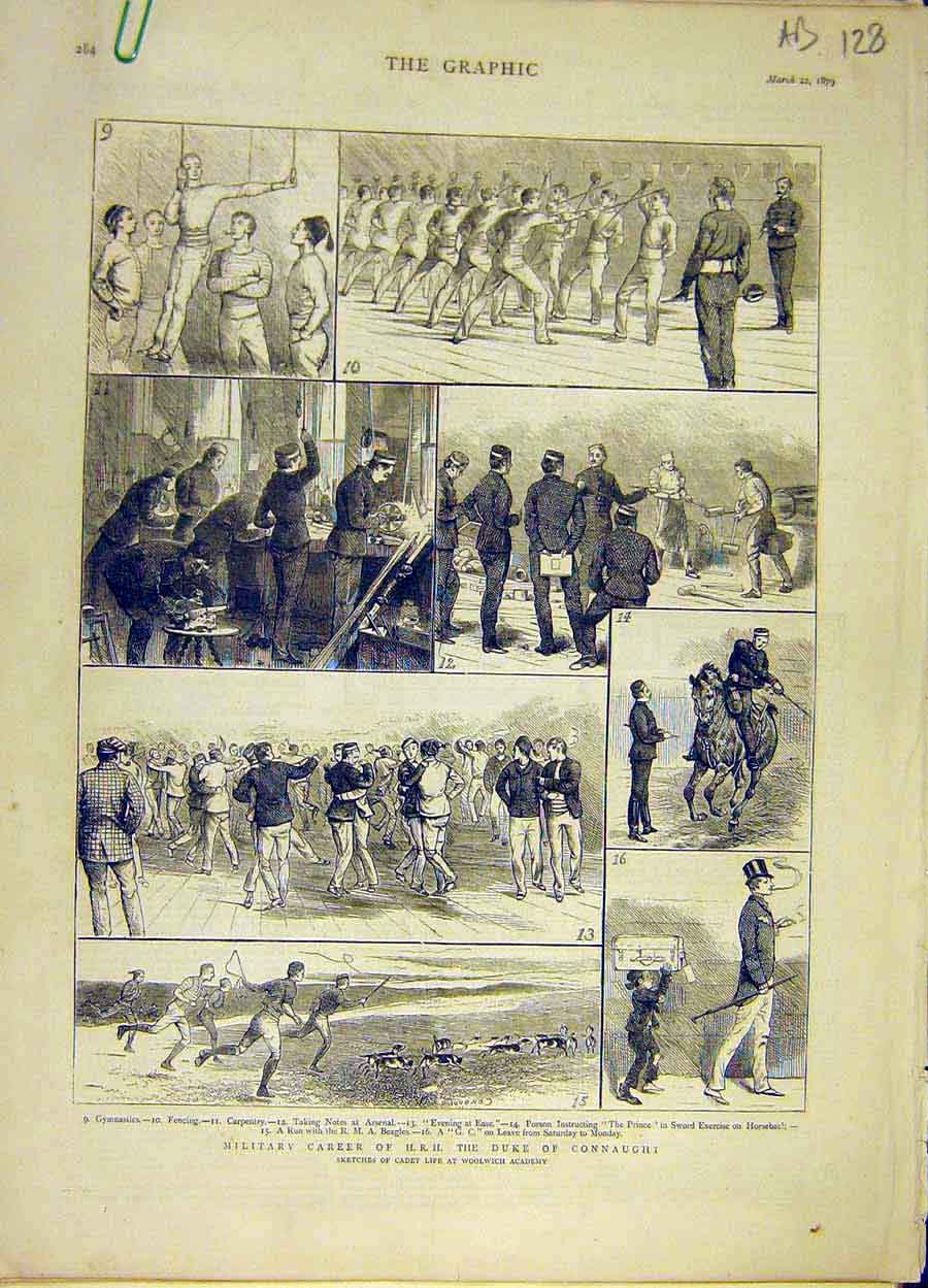 Print 1879 Military Career Duke Connaught Woolwich Cadet 28A8061 Old Original