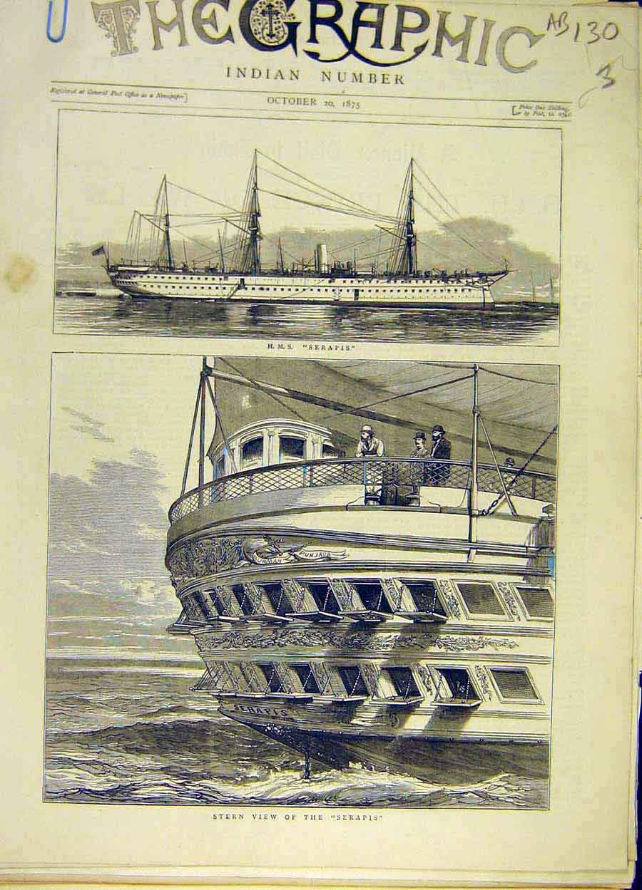 Print 1875 Hms Serapis Stern Ship Prince Wales Star-Board 30A8061 Old Original