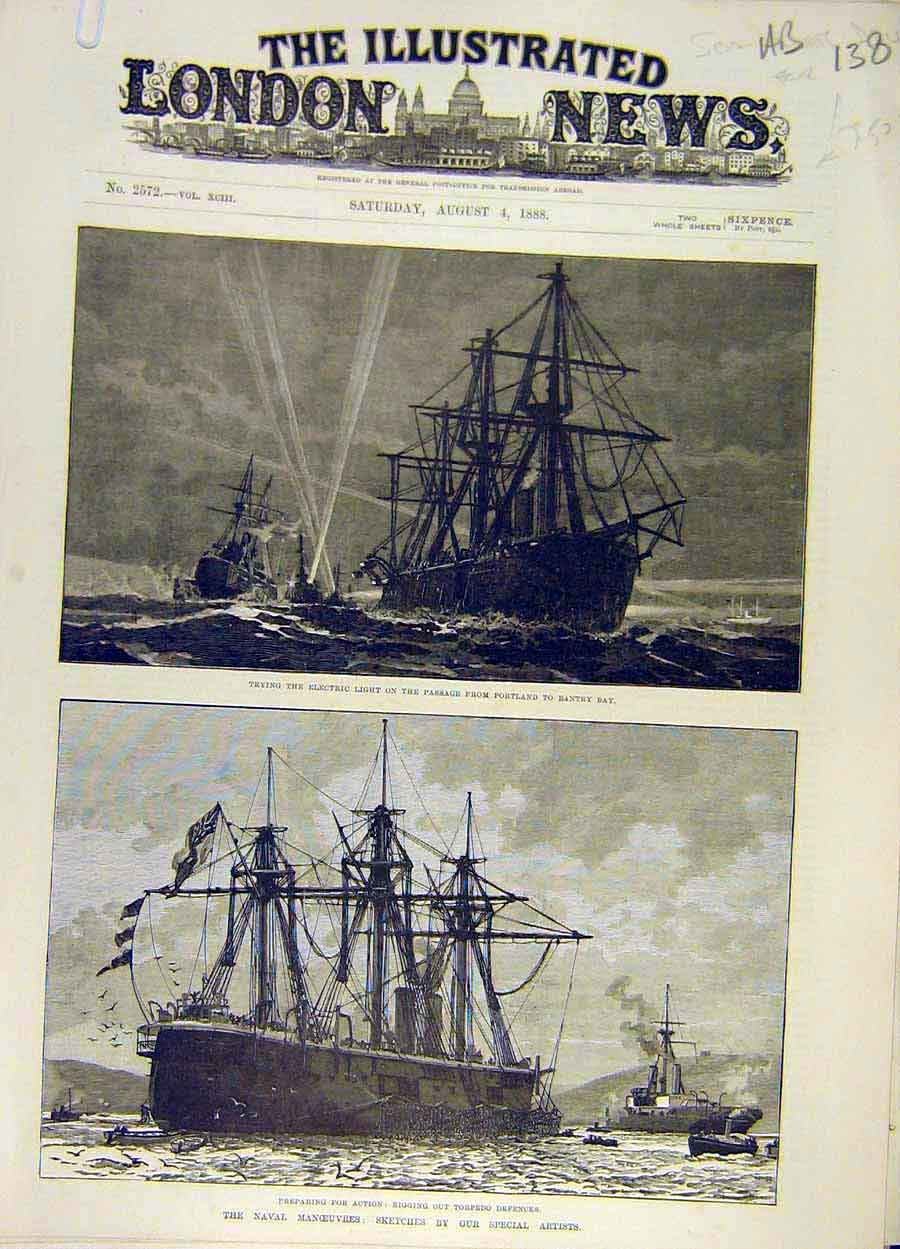 Print 1888 Electric Light Ship Naval Manoeuvre Torpedo 38A8061 Old Original
