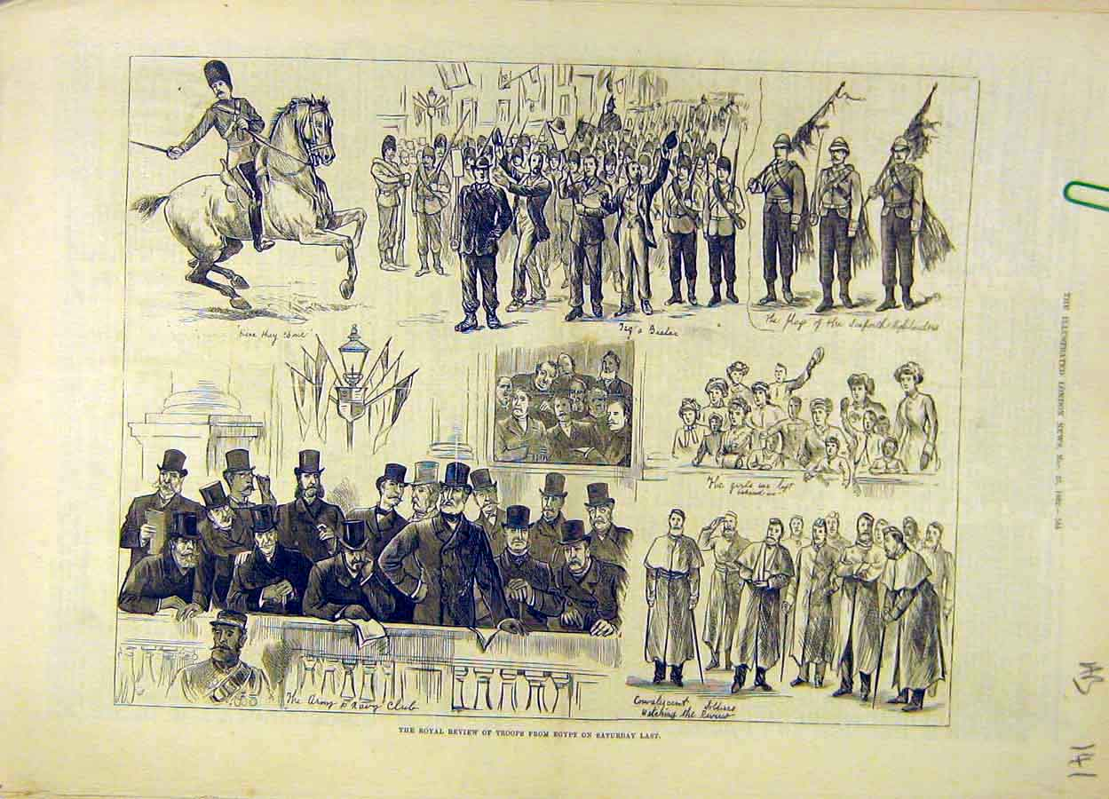 Print 1882 Royal Review Troops Egypt Horse-Guards 41A8061 Old Original