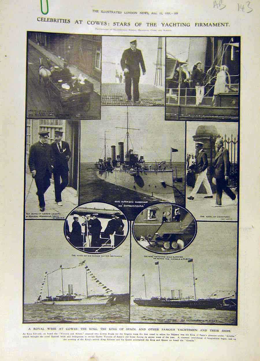 Print 1906 Cowes Royal Yacht Squadron King Spain Giralda 43A8061 Old Original