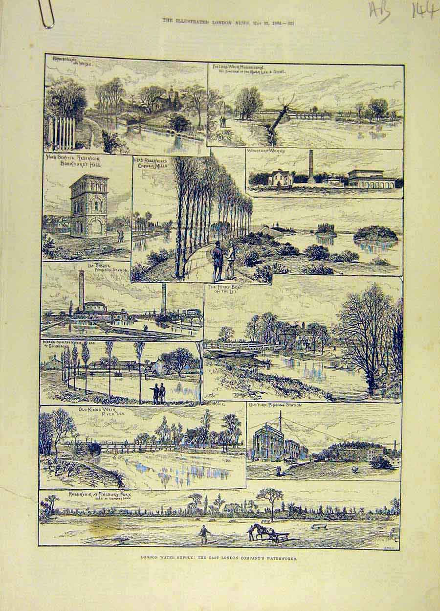 Print 1884 London Water-Supply River-Company Places Views 44A8061 Old Original