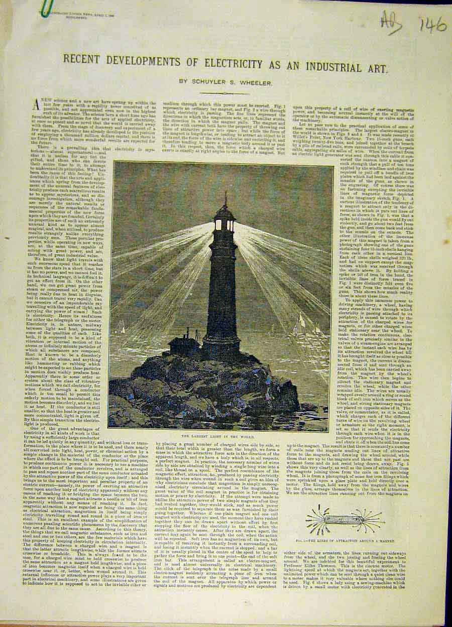 Print 1888 Electric Light-House Telegraph Furnace Train 46A8061 Old Original