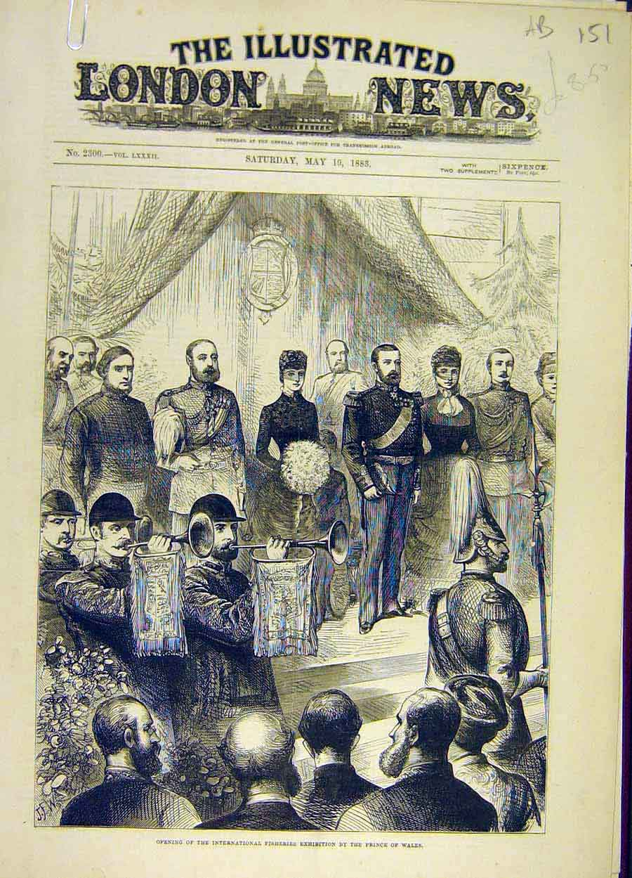 Print 1883 Prince Wales Fisheries Exhibition Sketches People 51A8061 Old Original