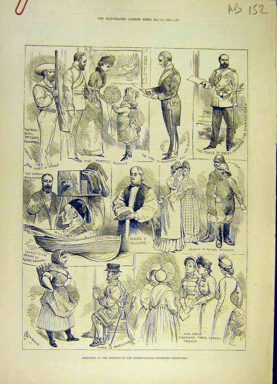 Print 1883 Sketches People Fisheries Exhibition Plan Map Fish 52A8061 Old Original