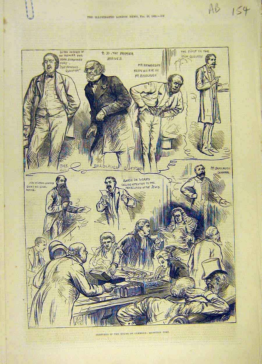 Print 1882 House Commons Sketches Question-Time Lobby 54A8061 Old Original