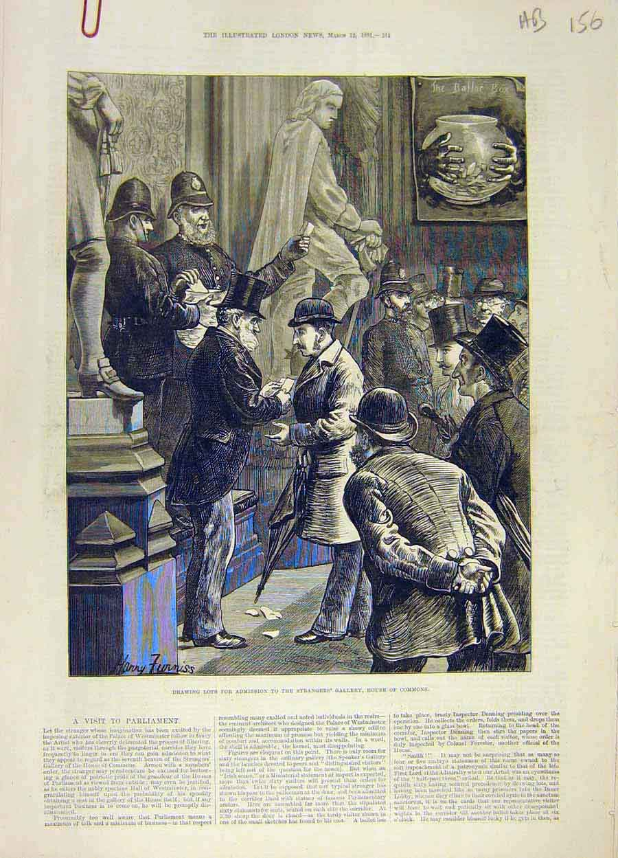 Print 1881 Strangers Gallery House Commons Lots Parliament 56A8061 Old Original