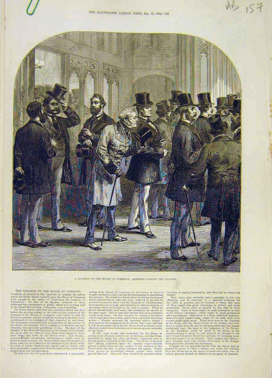 Print 1882 House Commons Members Tellers Division Lobby 57A8061 Old Original