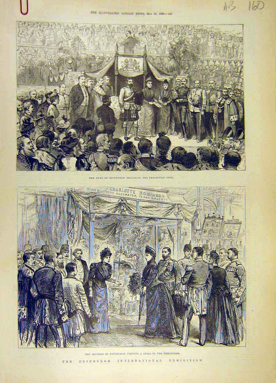 Print 1890 Duke Edinburgh Exhibition People Market-Cross 60A8061 Old Original