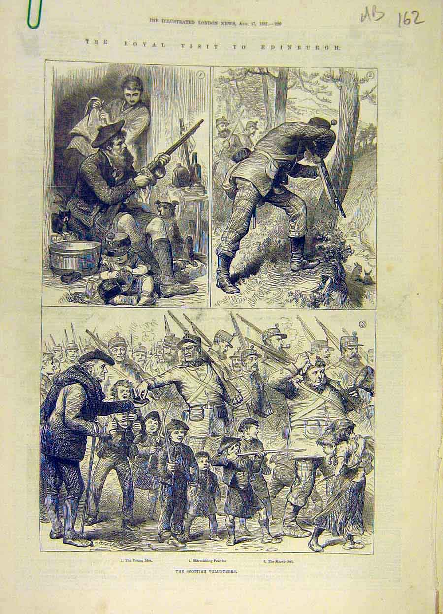 Print 1881 Royal Visit Scotland Scottish Voluteers Edinburgh 62A8061 Old Original