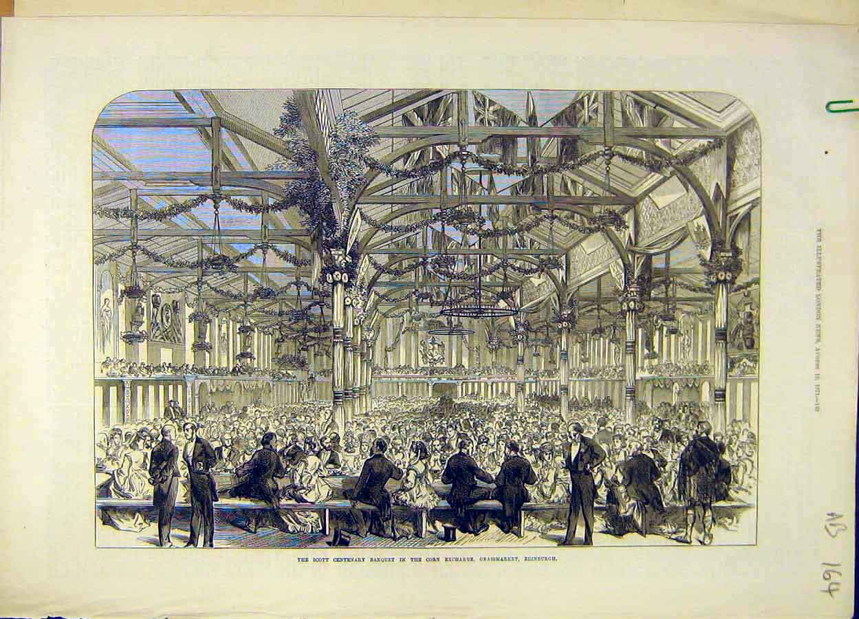 Print 1871 Scott Banquet Corn-Exchange Edinburgh Abbotsford 64A8061 Old Original